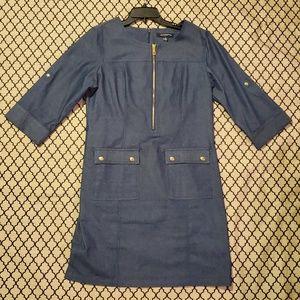 Sharagano denim utility dress
